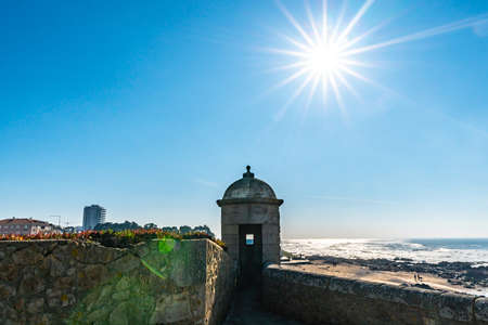 Porto Fort of Saint Francis Xavier Picturesque View with Watchtower on a Sunny Blue Sky Day Imagens