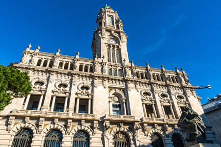 Porto Camara Municipal Town Hall Breathtaking Picturesque View on a Blue Sky Day in Winter Stok Fotoğraf
