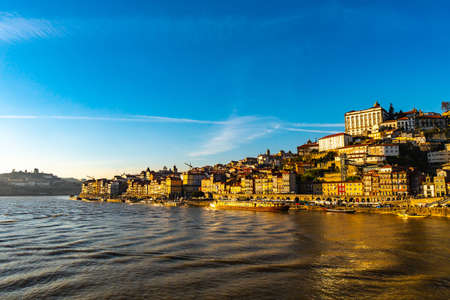 Porto Douro River Breathtaking Picturesque View of Ribeira District on a Sunny Blue Sky Day in Winter