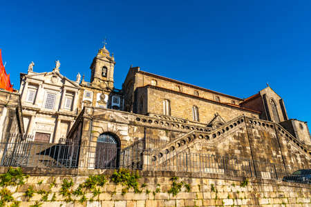 Porto Igreja Monumento de Sao Francisco Monument Church Breathtaking Picturesque View on a Blue Sky Day in Winter