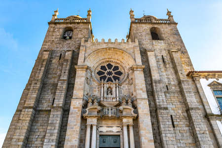 Porto Se Cathedral Church Breathtaking Picturesque View on a Blue Sky Day in Winter Stok Fotoğraf