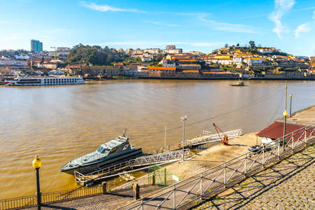 Porto Douro River Picturesque View of a Coast Guard Ship on a Sunny Blue Sky Day in Winter Reklamní fotografie