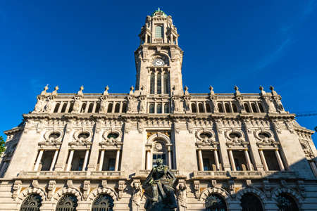 Porto Camara Municipal Town Hall Breathtaking Picturesque View on a Blue Sky Day in Winter