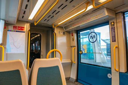 Porto Metro Public Transport Breathtaking Picturesque Interior View of Train with Empty Seats