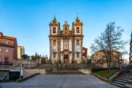 Porto Igreja de Santo Ildefonso Church Breathtaking Picturesque View on a Blue Sky Day in Winter
