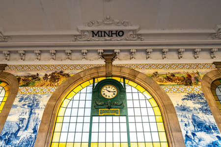 Porto Sao Bento Railway Station Breathtaking Picturesque Interior View of a Clock