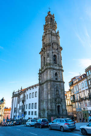 Porto Igreja dos Clerigos Church Breathtaking Picturesque View on a Blue Sky Day in Winter Editorial