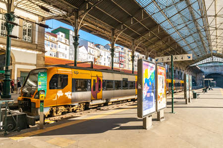 Porto Sao Bento Railway Station Breathtaking Picturesque View of a Parked Train on a Sunny Blue Sky Day in Winter