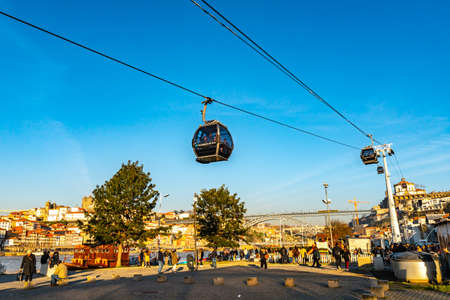 Porto Cable Car Teleferico de Gaia Picturesque Low Angle View on a Sunny Blue Sky Day in Winter