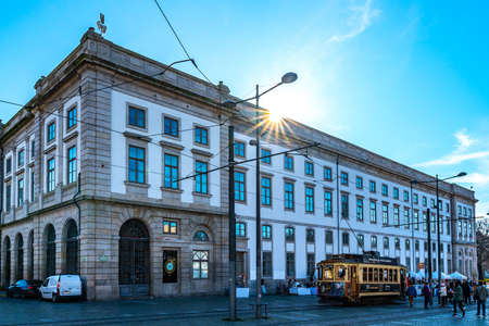 Porto Universidade University Building Breathtaking Picturesque View with Retro Tramway on a Blue Sky Day in Winter