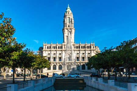 Porto Camara Municipal Town Hall Breathtaking Picturesque View on a Blue Sky Day in Winter Editöryel