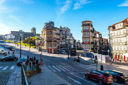 Porto Sao Bento Square Breathtaking Picturesque View with Busy Traffic on a Blue Sky Day in Winter