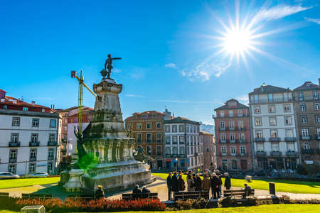Porto Monument at Infante Dom Henrique Square Picturesque View on a Sunny Blue Sky Day in Winter