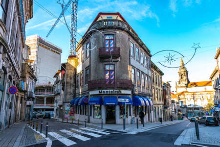 Porto Residential Building Monteiro's Picturesque View at Rua de Fernandes Tomas Street on a Blue Sky Day in Winter
