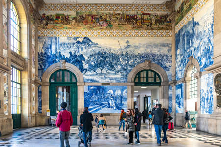 Porto Sao Bento Railway Station Breathtaking Picturesque Interior View of Traditional Azulejos Tiles with Tourists