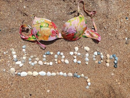 Beautiful Vacation sign formed with the shells and the brassiere laying.