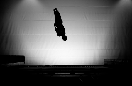 silhouette on trampoline