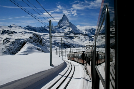 gornergrat railway in zermatt in winter