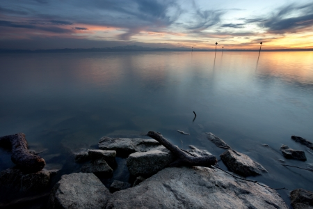 sunset at lake constance   photo