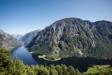 scandinavian landscape: fjord in norway Stock Photo