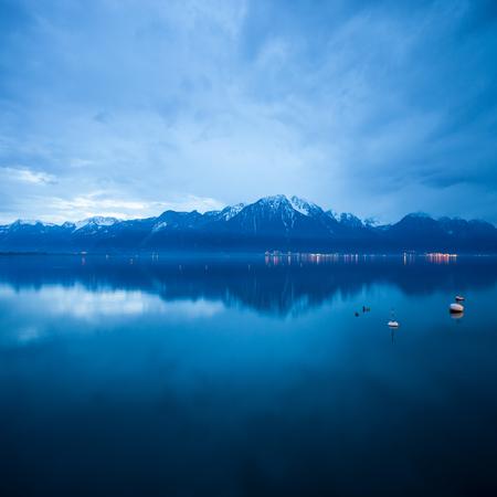 leman: lac leman at dusk Stock Photo