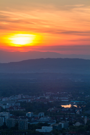 freiburg: sunset over freiburg Stock Photo