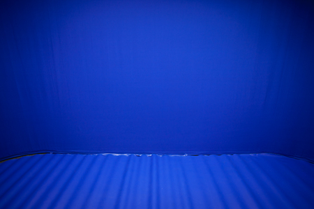 filming: background of studio with blue screen Stock Photo