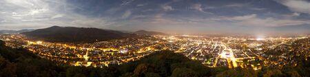 freiburg: night panorama of Freiburg, Germany