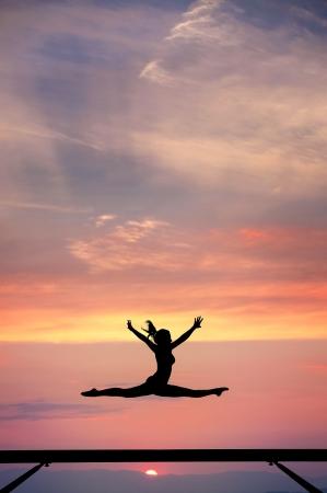 balance beam: gymnast on balance beam