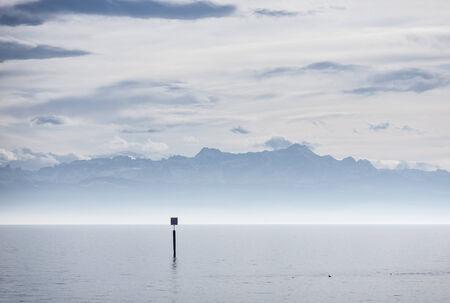 friedrichshafen: view from lake constance into swiss alps