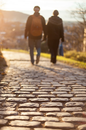 couple walking on cobblestone foot path photo