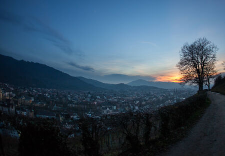 sunset over Freiburg, Germany photo