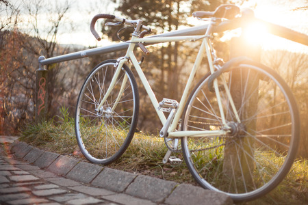 retro single speed race bike in sunlight