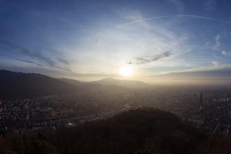 freiburg: sunset over Freiburg, Germany