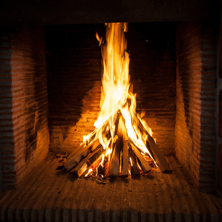 flame: burning wood in open fire place