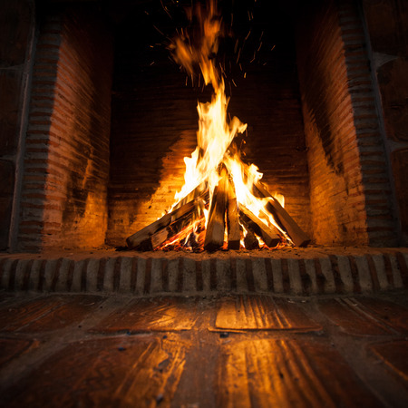 burning wood in open fire place photo