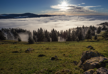 inversion: inversion fog in black forest valley, southwest Germany