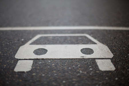 restrictions: sign of car on road Stock Photo