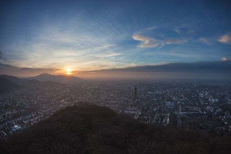 sunset over Freiburg, Germany