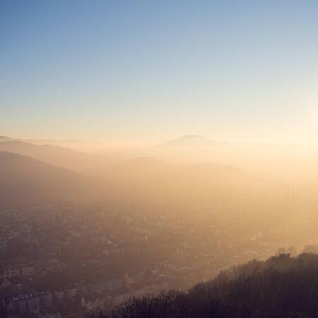 freiburg: fog over Freiburg, Germany at sunset Stock Photo