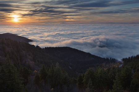 inversion: sunset and inversion fog in black forest, Germany