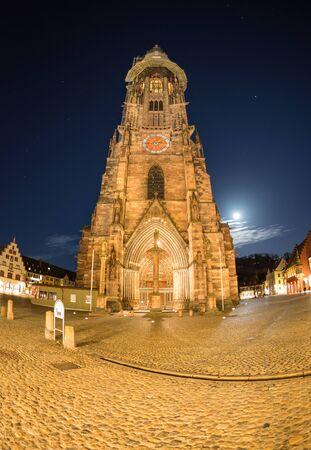 freiburg: cathedral of Freiburg at night