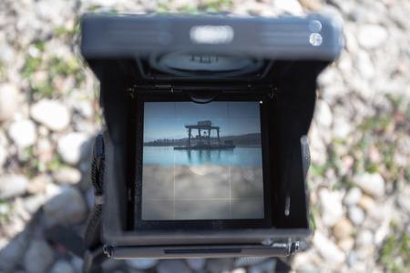 analog camera: old analog camera focusing screen