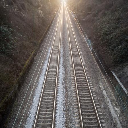 two train track rails Stock Photo
