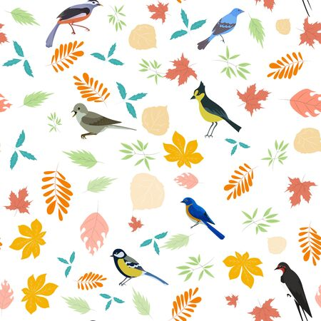 Background with birds and leaves Ilustração