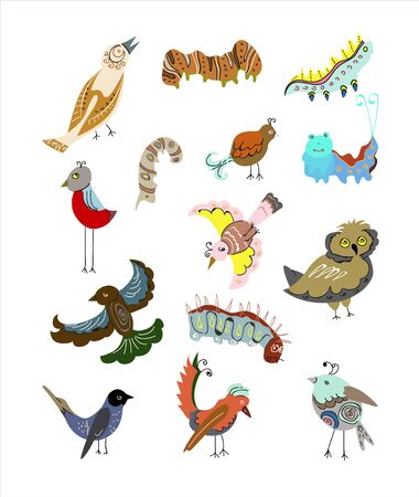 Set of different birds and caterpillars on a white background