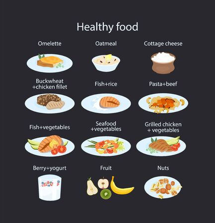 set of healthy food for breakfast lunch dinner and snack