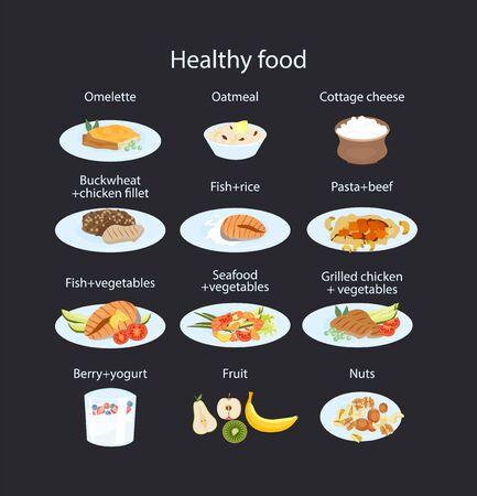 Conjunto de alimentos saludables para el desayuno, el almuerzo, la cena y la merienda.