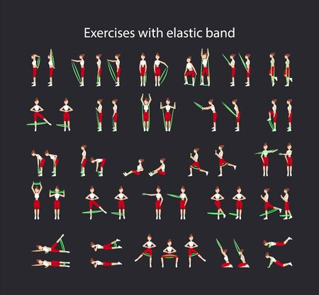 fitness set of exercises with fitness elastic bands for different muscle groups