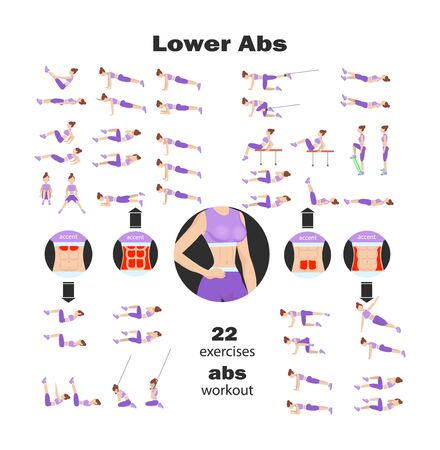 Sports sets with different fitness exercises for different muscle groups with different equipmen
